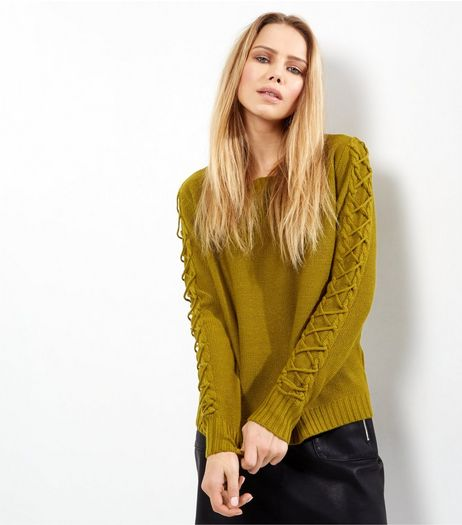 JDY Green Lattice Sleeve Knitted Jumper  | New Look