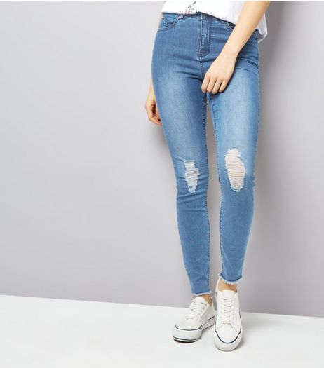 JDY Blue Ripped Girlfriend Jeans  | New Look