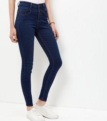 Dark Blue High Waist Skinny Jeans