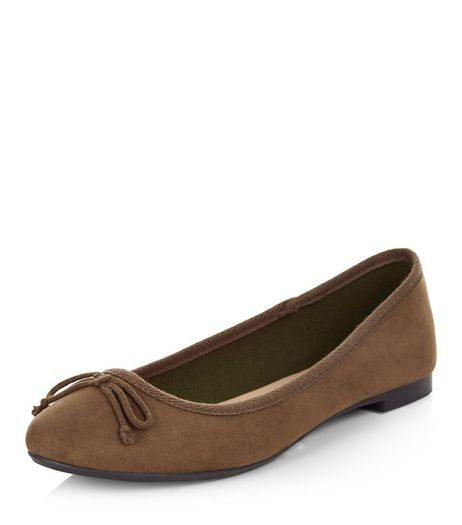 Khaki Suedette Ballet Pumps | New Look