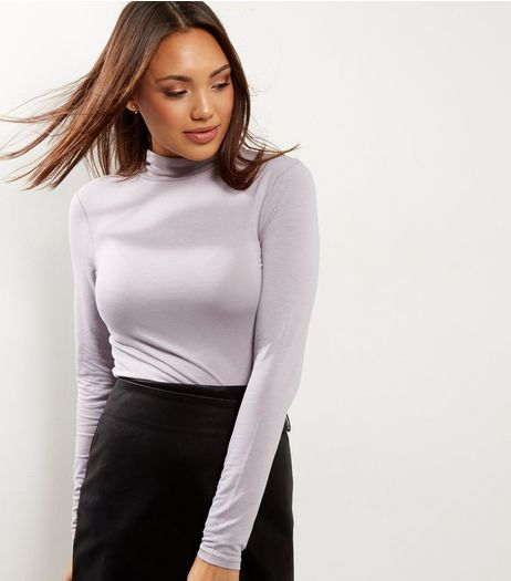 Grey Turtle Neck Long Sleeve Top | New Look