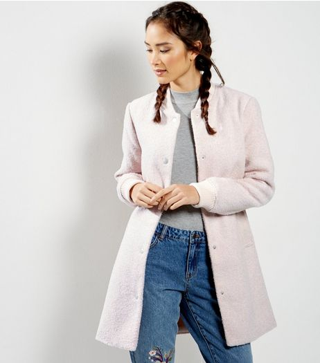 Shell Pink Flecked Longline Bomber Jacket  | New Look