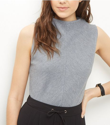 Grey Chevron Ribbed Funnel Neck Vest  | New Look