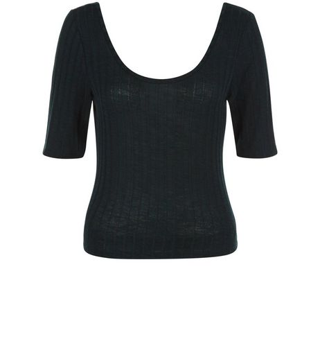 Dark Green Fine Knit Ribbed Scoop Neck Top  | New Look