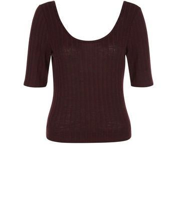 Burgundy Fine Knit Ribbed Scoop Neck Top