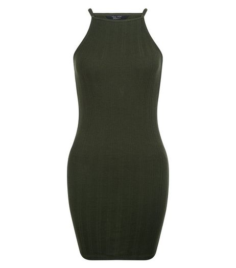 Teens Khaki Ribbed Bodycon Dress | New Look