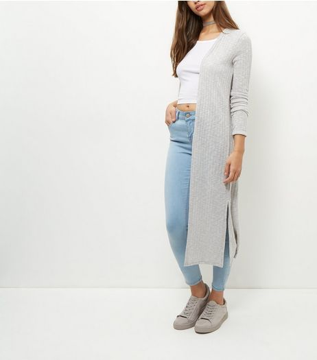 Pale Grey Fine Knit Ribbed Longline Cardigan  | New Look
