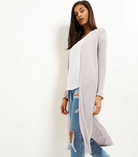 Shell Pink Fine Knit Ribbed Longline Cardigan | New Look