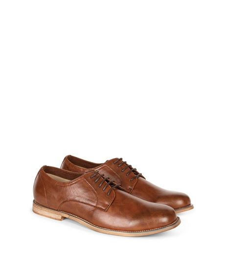 Tan Leather-Look Lace Up Brogues | New Look