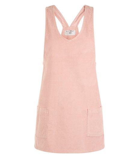 Teens Shell Pink Cord Pinafore Dress | New Look
