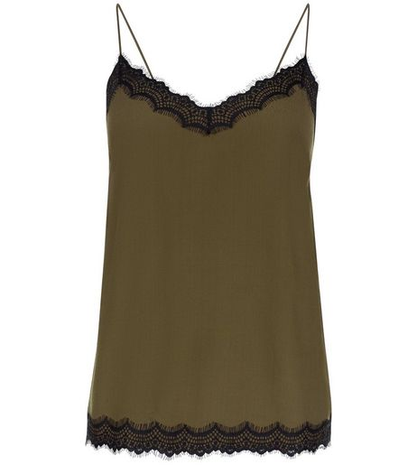 Petite Khaki Lace Trim Cami | New Look