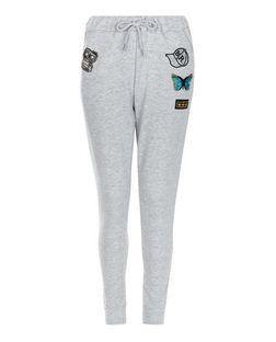 Cameo Rose Grey Butterfly Badge Joggers | New Look