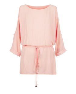 Cameo Rose Pink Cold Shoulder Tie Waist Top | New Look