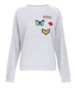 Cameo Rose Grey Butterfly Badge Sweater | New Look