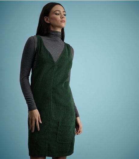 Tall Dark Green Cord Pinafore Dress | New Look