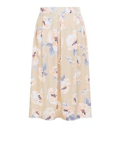 Cameo Rose Shell Pink Floral Print Midi Skirt | New Look