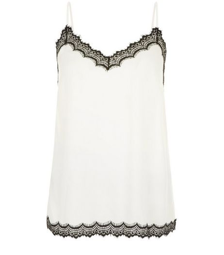 Tall Cream Lace Trim Cami | New Look