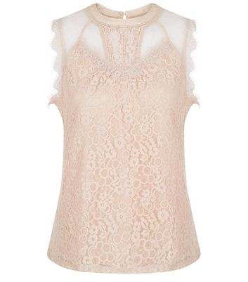 Shell Pink Lace Panel Vest