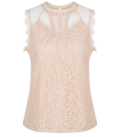 Shell Pink Lace Panel Vest | New Look