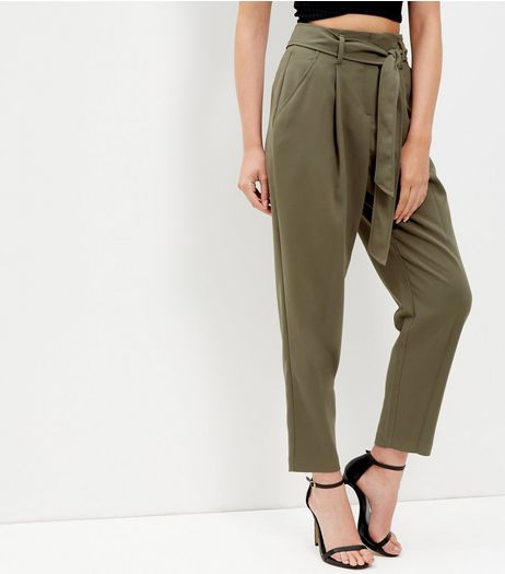 Tall Khaki Belted Cropped Trousers | New Look
