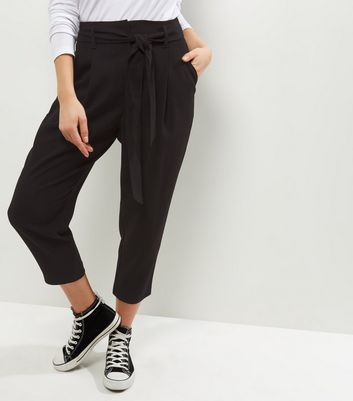 Petite Black Belted Trousers