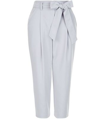 Petite Pale Grey Belted Trousers