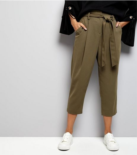 Petite Khaki Belted Trousers | New Look
