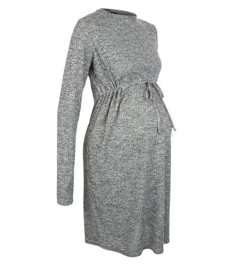 Maternity Grey Ribbed Long Sleeve Dress | New Look