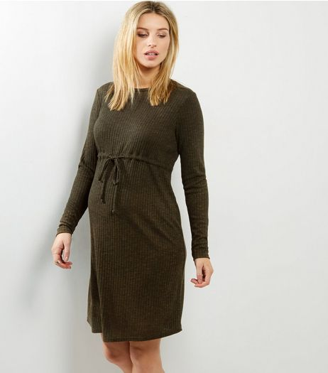 Maternity Khaki Ribbed Drawstring Waist Dress | New Look