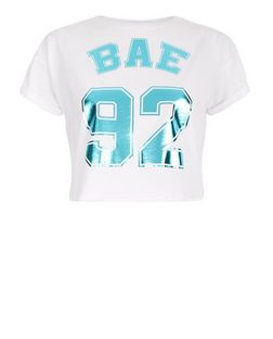 Teens White Bae 92 Print Crop Top | New Look