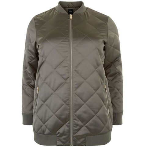 Curves Khaki Quilted Longline Bomber Jacket | New Look