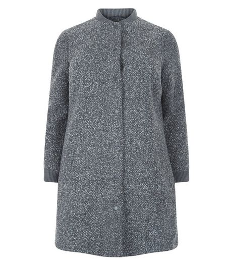 Curves Grey Cuffed Longline Coat | New Look