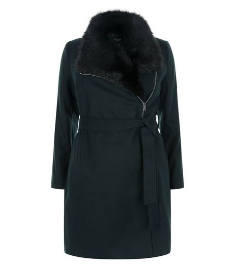 Curves Dark Green Faux Fur Collar Belted Coat | New Look