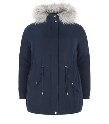 Curves Navy Faux Fur Trim Hooded Parka Jacket