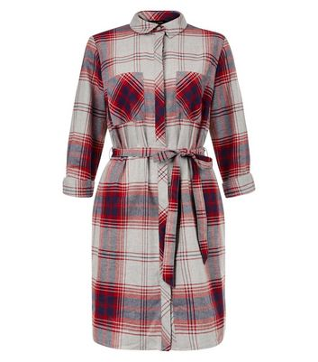 Product photo of Light grey check double pocket tie waist shirt dress