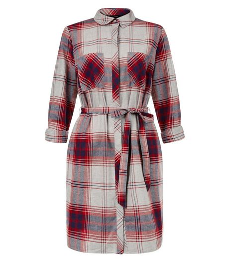 Light Grey Check Double Pocket Tie Waist Shirt Dress  | New Look