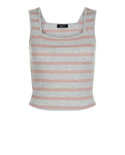 Teens Grey Stripe Square Neck Top | New Look