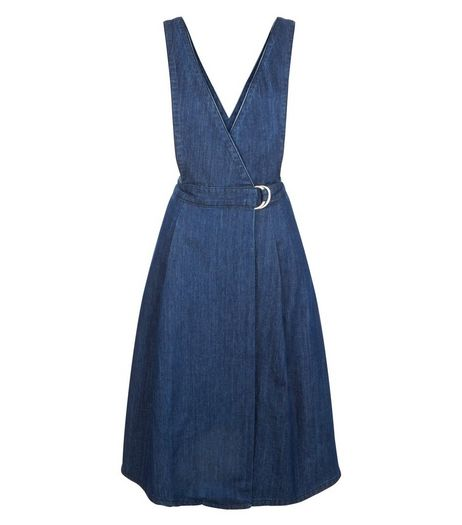 Blue Denim Wrap Front Pinafore Midi Dress  | New Look
