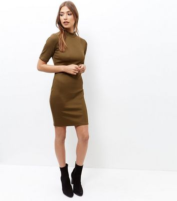 Olive Green Funnel Neck 1/2 Sleeve Bodycon Dress