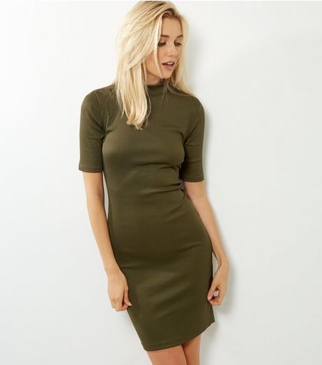 Khaki Funnel Neck 1/2 Sleeve Bodycon Dress | New Look