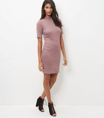 Mid Pink Funnel Neck 1/2 Sleeve Bodycon Dress