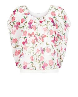 Apricot Pink Butterfly Print Pleated Top | New Look