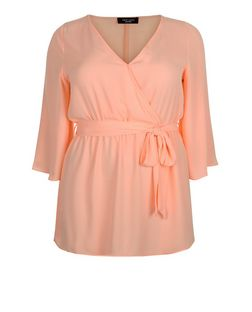 Curves Light Pink Wrap Front Bell Sleeve Top  | New Look