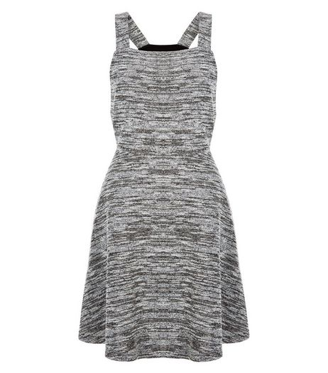 Grey Fine Knit Space Dye Pinafore Skater Dress  | New Look