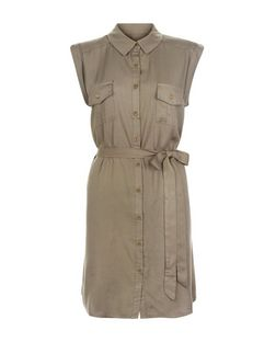 Apricot Khaki Double Pocket Shirt Dress | New Look