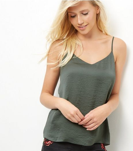 Khaki Sateen V Neck Cami | New Look