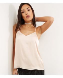 Shell Pink Sateen V Neck Cami | New Look