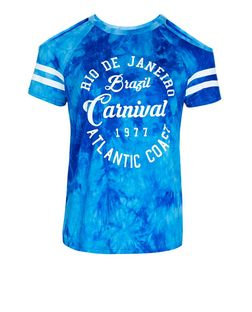 Teens Blue Tie Dye Carnival Print Cold Shoulder T-Shirt | New Look