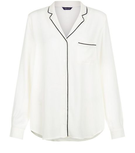 Cream Contrast Trim Long Sleeve Shirt | New Look
