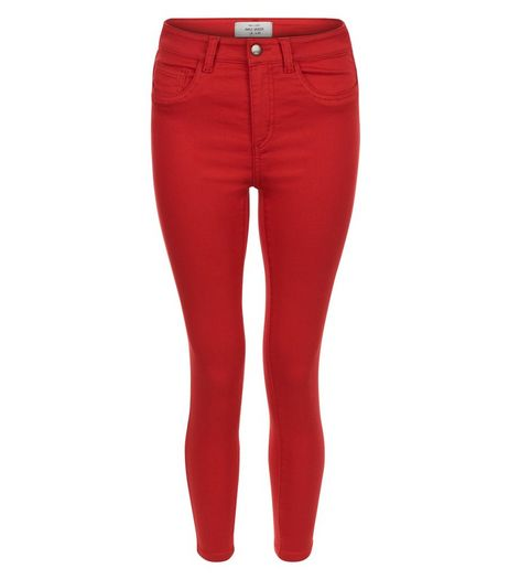 Red Ankle Grazer Skinny Jeans | New Look